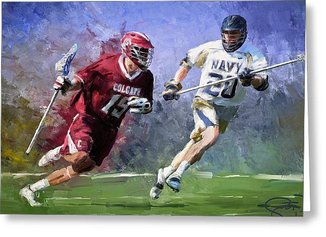 Scott Melby Greeting Cards - Colgate Lacrosse Greeting Card by Scott Melby