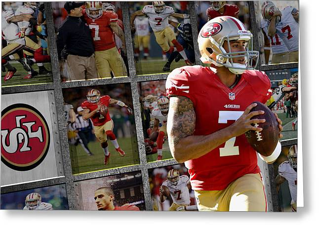 Colin Kaepernick Greeting Cards - Colin Kaepernick San Francisco 49ers Greeting Card by Joe Hamilton