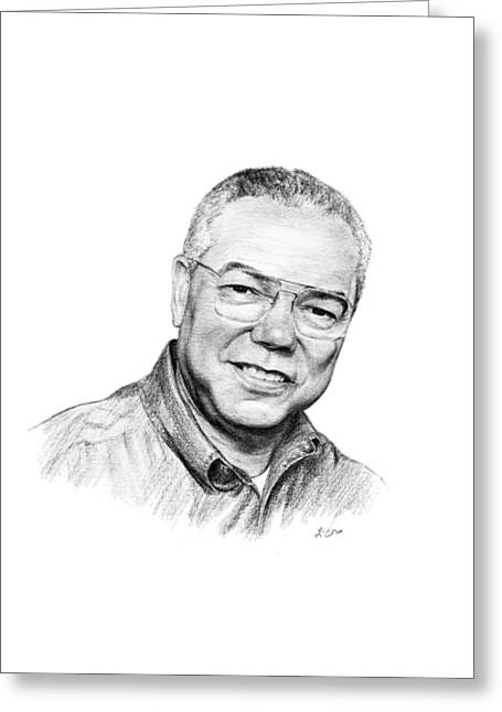 Colin Powell Greeting Card by Lou Ortiz