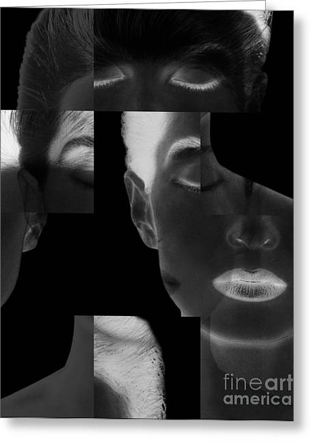 Face Of A Woman Greeting Cards - Collage Of A Womans Face Greeting Card by Dennis Potokar