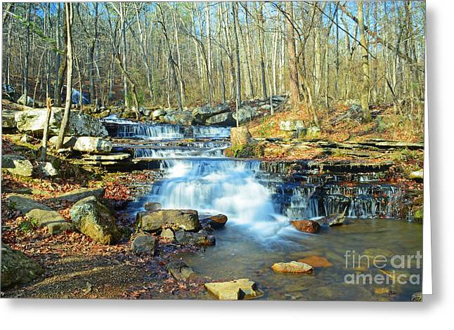 Heber Springs Greeting Cards - Collins Creek Cascades Greeting Card by Kevin Pugh