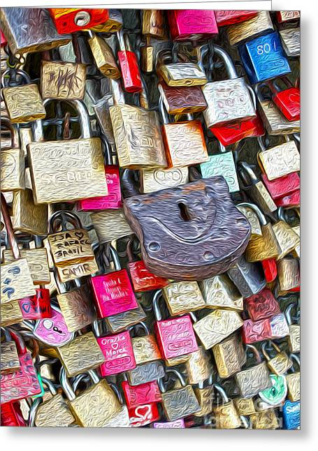 Gregory Dyer Digital Greeting Cards - Cologne - Hohenzollern Bridge - Gypsy Locks Greeting Card by Gregory Dyer