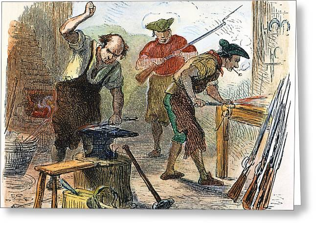 Colonial Man Greeting Cards - Colonial Blacksmith, 1776 Greeting Card by Granger