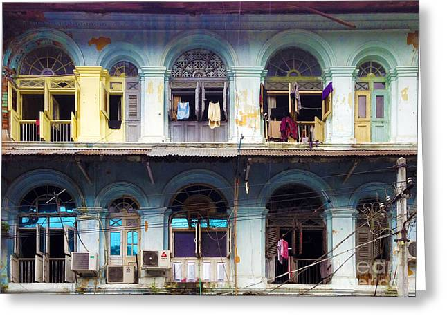 Colonial Architecture Greeting Cards - Colonial Facade Bo Soon Pat Street 8th Ward Central Yangon Burma Greeting Card by Ralph A  Ledergerber-Photography