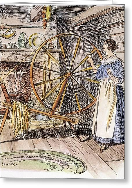 Colonial Spinner, 18th C Greeting Card by Granger
