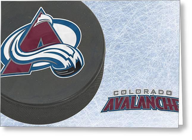 Skates Greeting Cards - Colorado Avalanche Greeting Card by Joe Hamilton