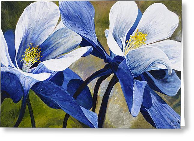 Macro Greeting Cards - Colorado Columbines Greeting Card by Aaron Spong