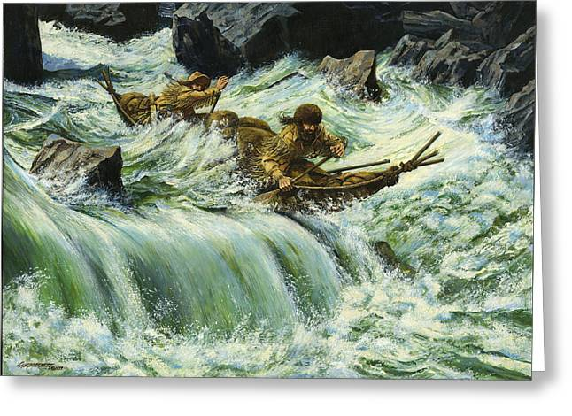 Rapid Paintings Greeting Cards - Overcurrent - Frontiersmen in Canoe in Wild Rapids Greeting Card by Don  Langeneckert