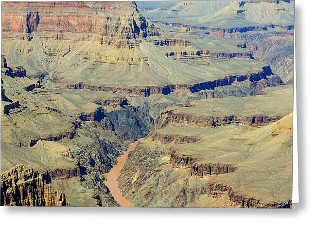 Colorado Photographs Greeting Cards - Colorado River Flowing Red Through Inner Gorge Grand Canyon National Park Square Greeting Card by Shawn O