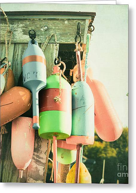 Old Maine Houses Greeting Cards - Colorful buoys Greeting Card by Isabel Poulin