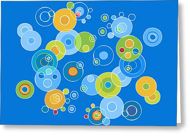 Geometrical Art Paintings Greeting Cards - Colorful Circles Greeting Card by Frank Tschakert