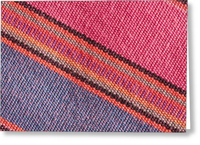 Tapestries Textiles Greeting Cards - Colorful cloth Greeting Card by Tom Gowanlock