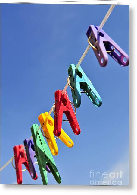 Clamps Greeting Cards - Colorful clothes pins Greeting Card by Elena Elisseeva