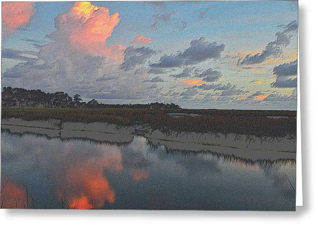 Sunset Framed Prints Drawings Greeting Cards - Colorful Cloud Reflections Greeting Card by Richard Zentner