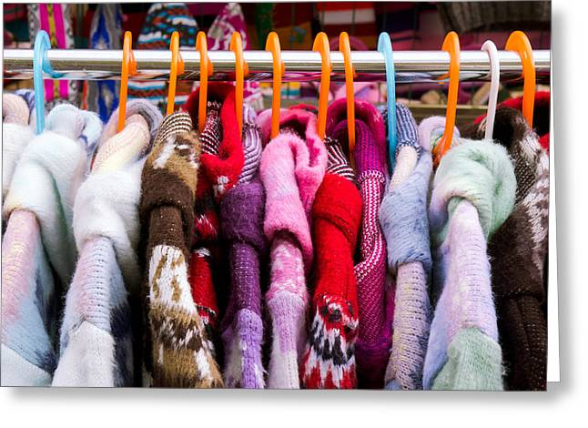 Coat Hanger Greeting Cards - Colorful coats Greeting Card by Tom Gowanlock