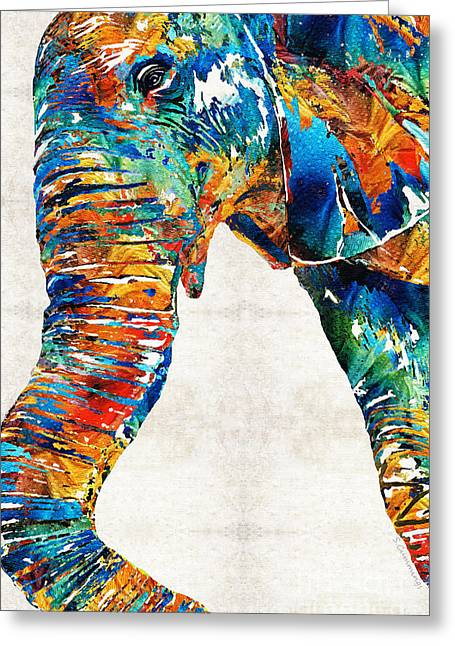 Asian Art Greeting Cards - Colorful Elephant Art by Sharon Cummings Greeting Card by Sharon Cummings
