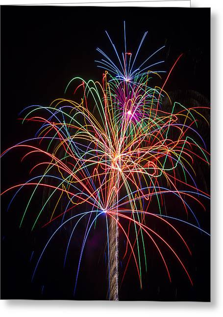 Blast Greeting Cards - Colorful Fireworks Greeting Card by Garry Gay