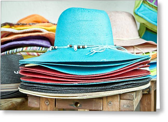 Colorful Hats Greeting Card by Tom Gowanlock