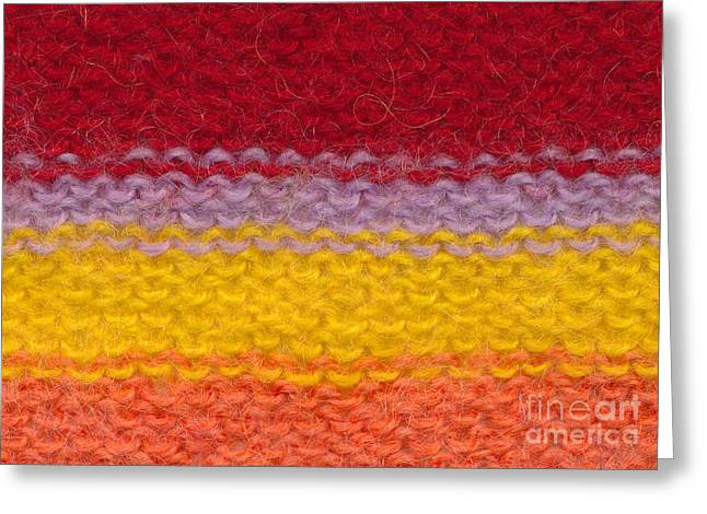 Striped Tapestries - Textiles Greeting Cards - Colorful knitted textile Greeting Card by Kerstin Ivarsson