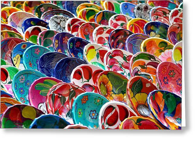 Mayan Pottery Greeting Cards - Colorful Mayan Bowls for Sale Greeting Card by Brandon Bourdages