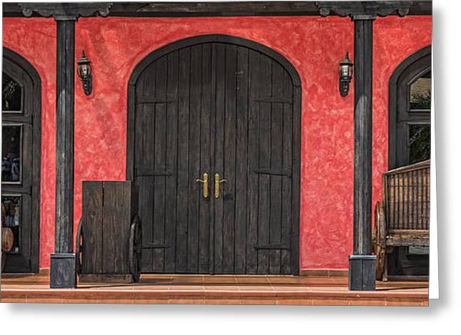 Entrance Door Greeting Cards - Colorful Mexican Doorway Greeting Card by Jim Vallee