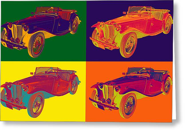 Spokes Greeting Cards - Colorful MG Convertible Antique Car Pop Art Greeting Card by Keith Webber Jr