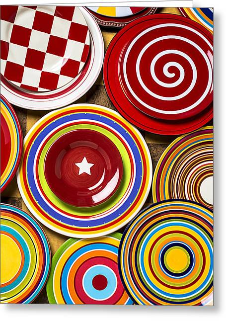 Colorful Plates Greeting Card by Garry Gay