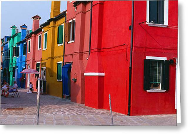 Residential Structure Greeting Cards - Colorful Row Houses, Burano, Venice Greeting Card by Panoramic Images