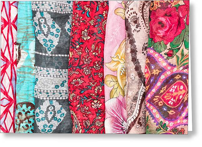 Bandana Greeting Cards - Colorful scarves Greeting Card by Tom Gowanlock