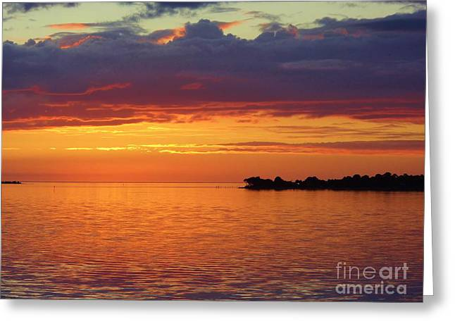 Cedar Key Greeting Cards - Colorful Sunset Sky Greeting Card by D Hackett