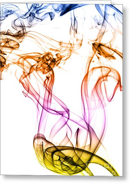 Incense Smoke Greeting Cards - Colorful smoke abstract Greeting Card by Vishwanath Bhat