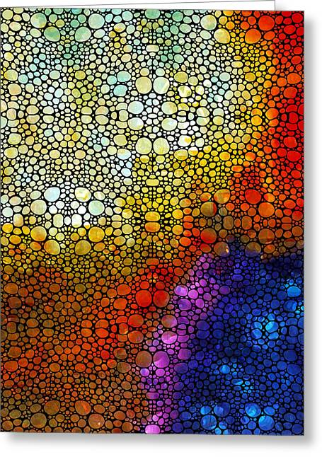 (sharon Stone) Greeting Cards - Colorful Stone Rockd Abstract Art By Sharon Cummings Greeting Card by Sharon Cummings