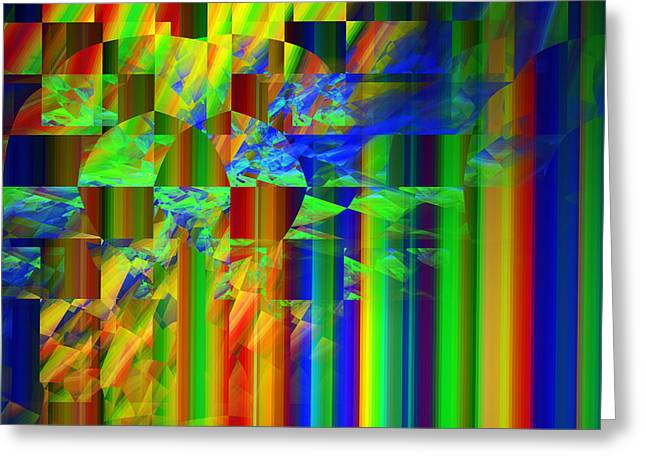 Straight Greeting Cards - Colorful Straight Line Fractal Flame Background Greeting Card by Keith Webber Jr