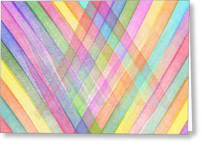 Art Decor Greeting Cards - Colorful stripes Greeting Card by Aged Pixel