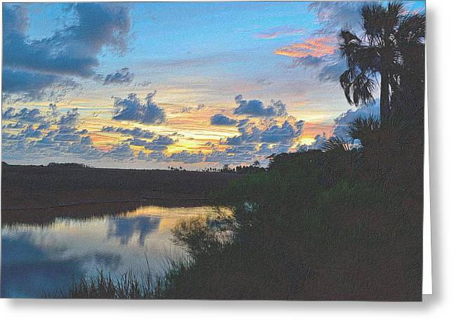 Sunset Framed Prints Drawings Greeting Cards - Colorful Sunset 2 Greeting Card by Richard Zentner