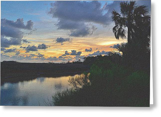 Sunset Framed Prints Drawings Greeting Cards - Colorful Sunset 3 Greeting Card by Richard Zentner