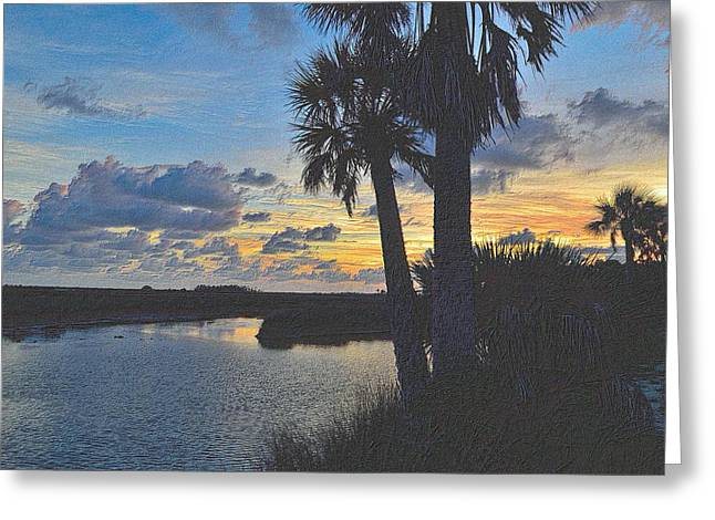 Sunset Framed Prints Drawings Greeting Cards - Colorful Sunset 4 Greeting Card by Richard Zentner