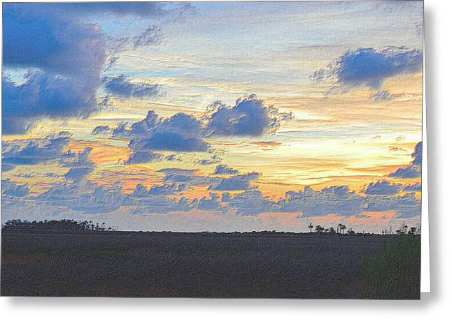 Sunset Framed Prints Drawings Greeting Cards - Colorful Sunset 5 Greeting Card by Richard Zentner