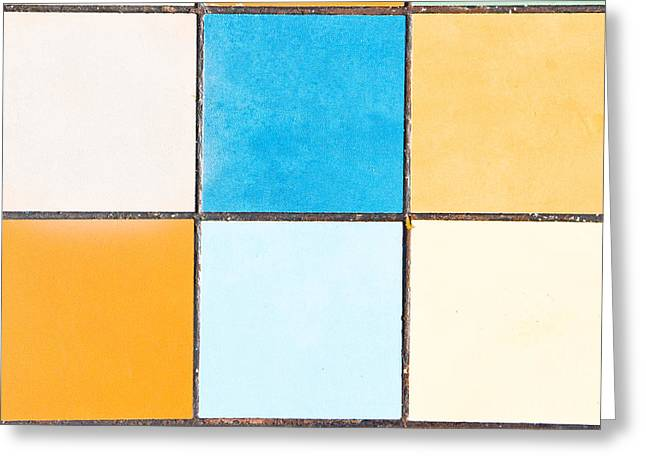 Geometric Style Greeting Cards - Colorful tiles Greeting Card by Tom Gowanlock