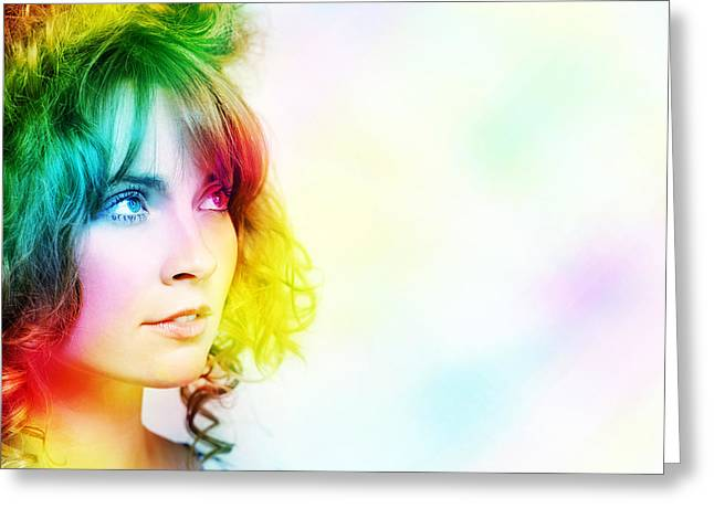 Hair Abstract Art Greeting Cards - Colorful Woman Watching Colourful Rays Of Light Greeting Card by Ryan Jorgensen