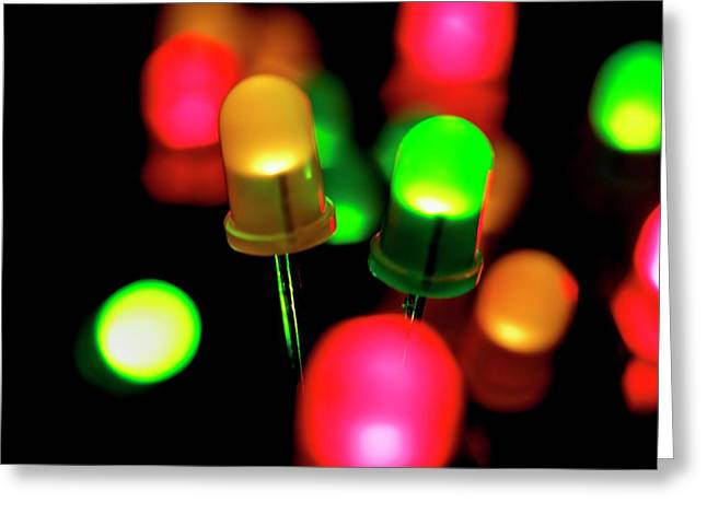 Coloured Leds Greeting Card by Science Photo Library