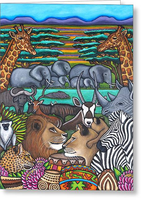 Lisa Lorenz Paintings Greeting Cards - Colours of Africa Greeting Card by Lisa  Lorenz