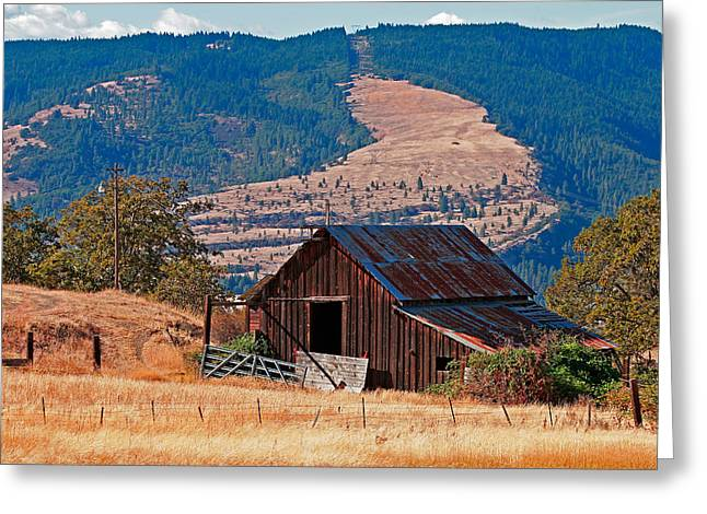 Old Barns Greeting Cards - Columbia River Barn Greeting Card by Peter Tellone