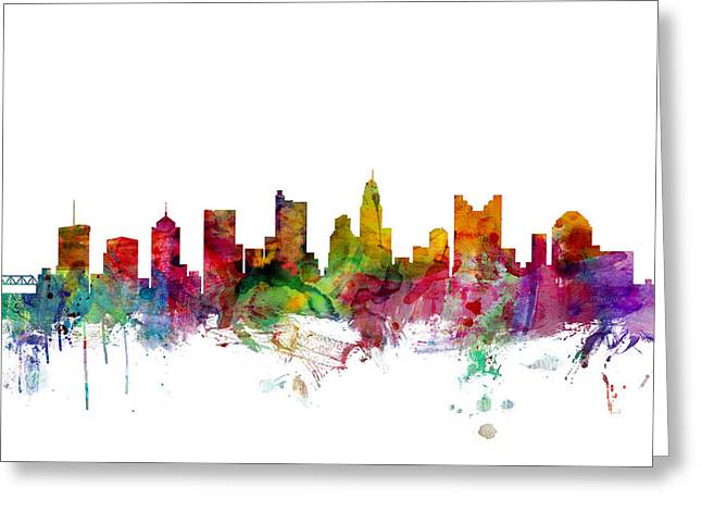 Skyline Greeting Cards - Columbus Ohio Skyline Greeting Card by Michael Tompsett