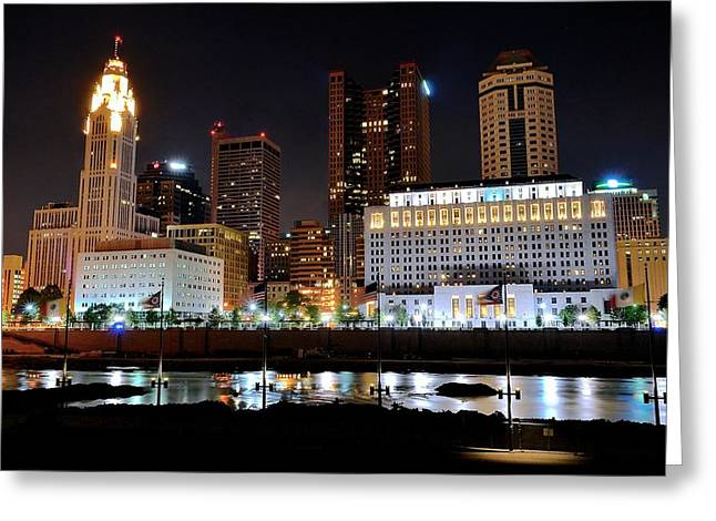 Rhodes Greeting Cards - Columbus over the Scioto Greeting Card by Frozen in Time Fine Art Photography