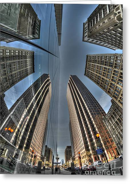 Williams Dam Greeting Cards - Comcast Tower Reflections Greeting Card by Mark Ayzenberg
