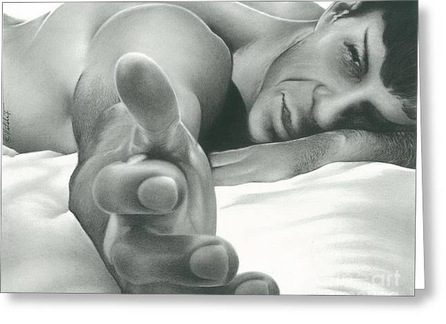 Come Hither Nude Spock Charcoal Pencil Drawing Greeting Card by N Faulkner