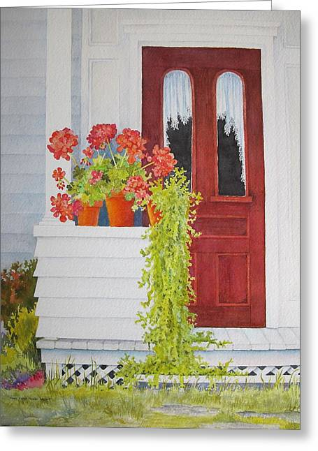 Red Geraniums Greeting Cards - Come On In Greeting Card by Mary Ellen  Mueller Legault