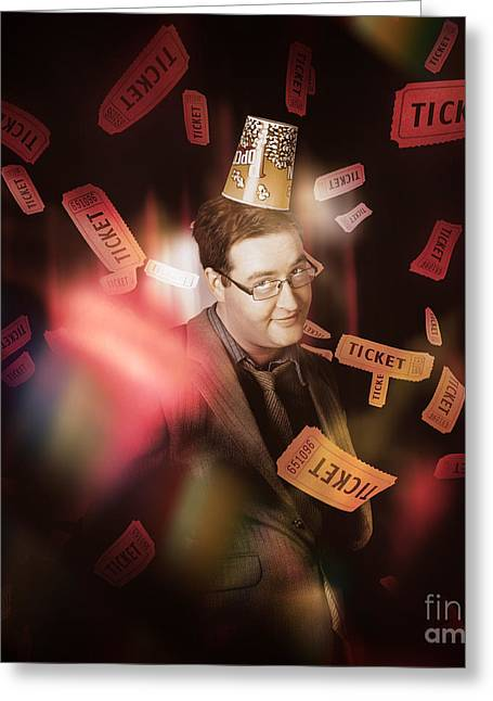 Showtime Greeting Cards - Comedy entertainment man on theater stage Greeting Card by Ryan Jorgensen