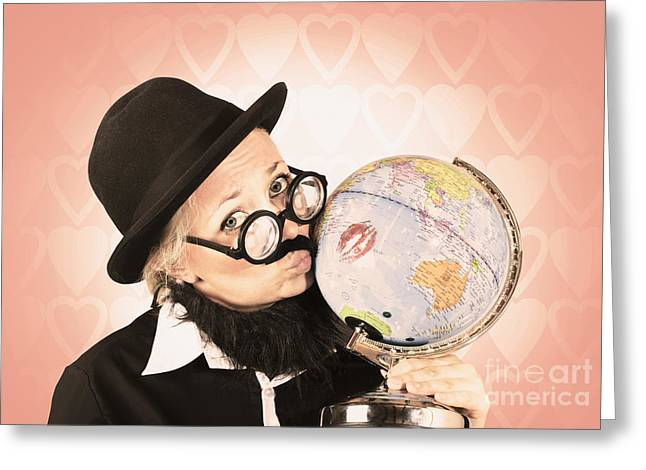Globalization Greeting Cards - Comical nerdy person kissing the globe Greeting Card by Ryan Jorgensen